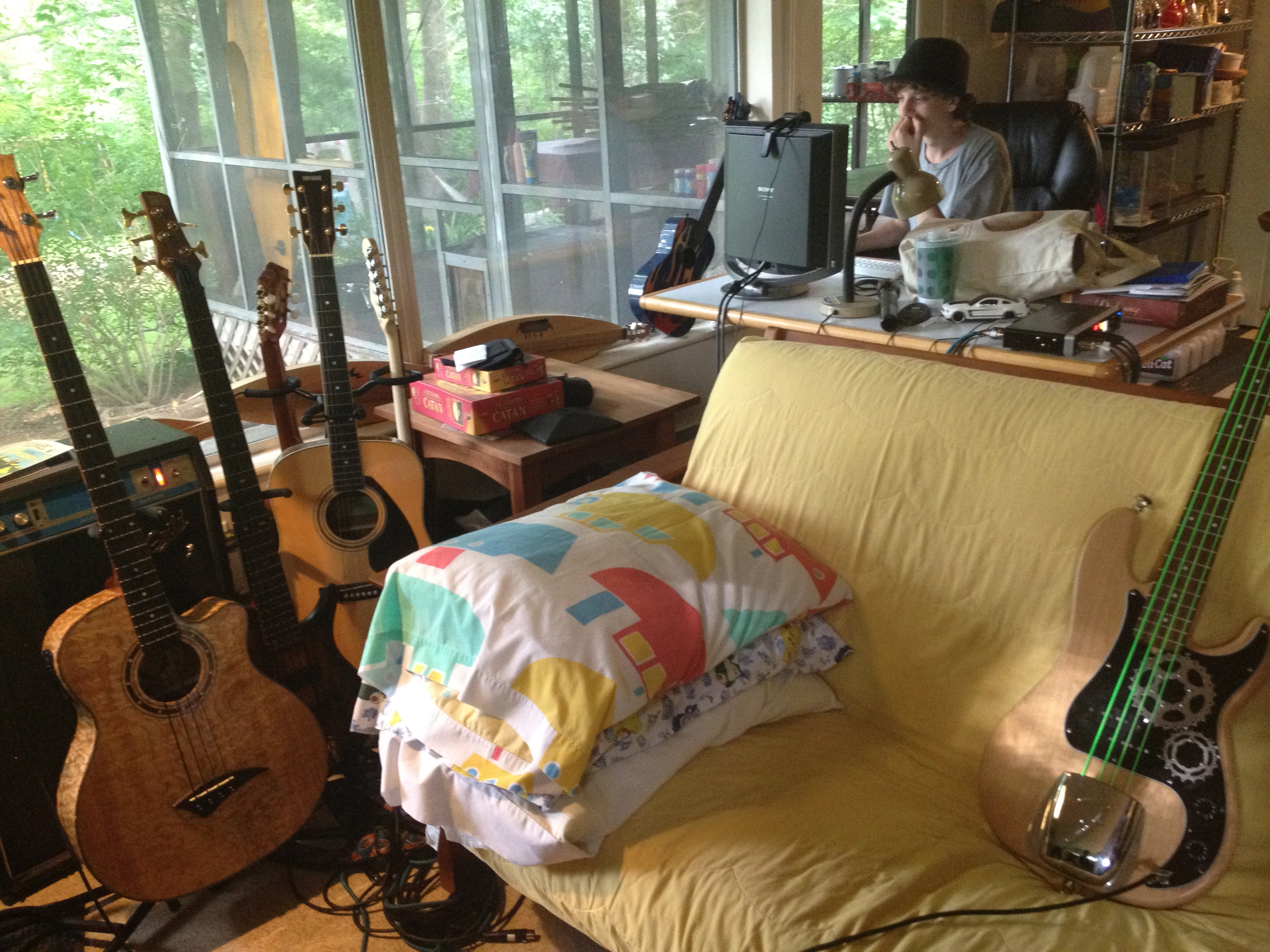 Max made the instruments by the window and on the couch.