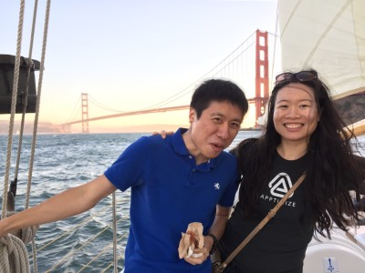 Apptimize crew sailing around San Francisco